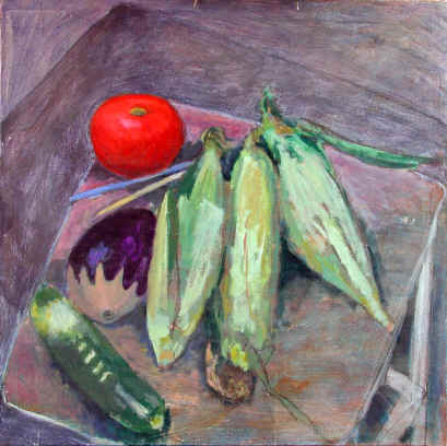 Figurative Painting--Title: Corn and Tomato