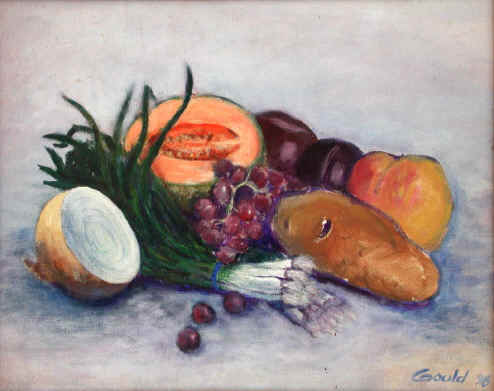 Peinture acrylique.  Titre : Fruit and Potato