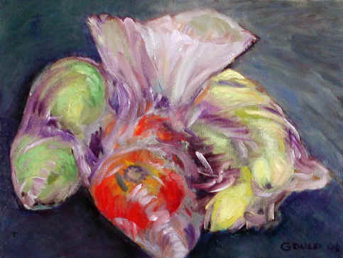 Figurative Painting--Title: Fruit in bag