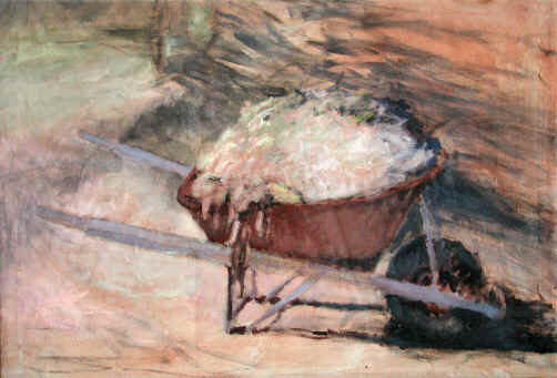 Peinture acrylique.  Titre : The Golden Wheelbarrow