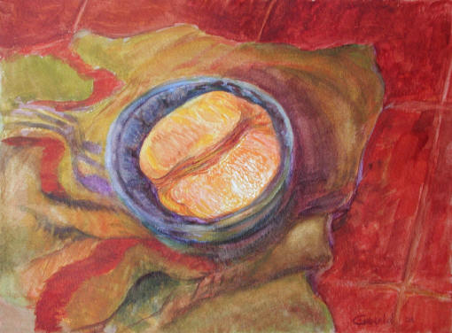 Figurative Painting--Title: Half an Orange
