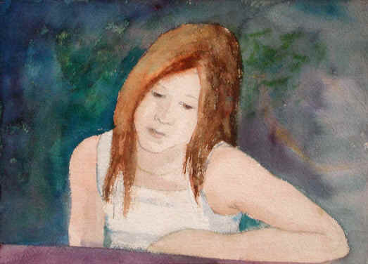 Figurative Watercolor Painting--Title: Shelly